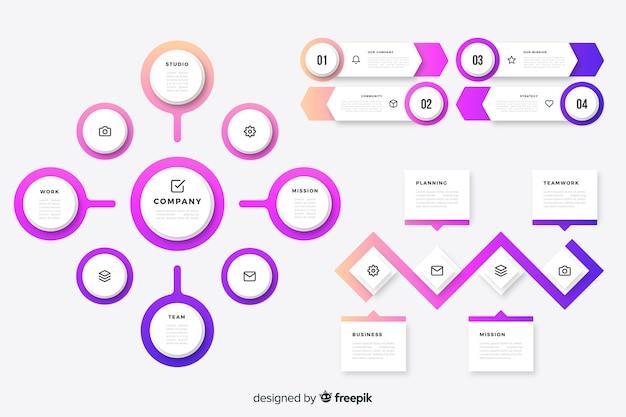 Infographic elemente der bunten zeitachse