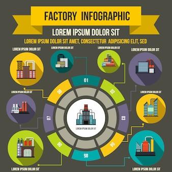 Infographic elemente der fabrik in der flachen art für jedes mögliches design