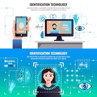 Infographic elemente der identifikationstechnologie horizontal mit computerzugriffskontrolle der gesichtsfingerabdruckunterschriftenerkennung