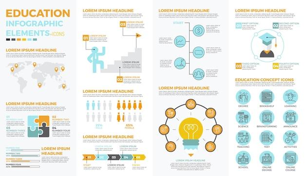 Infographic elemente der schulbildung