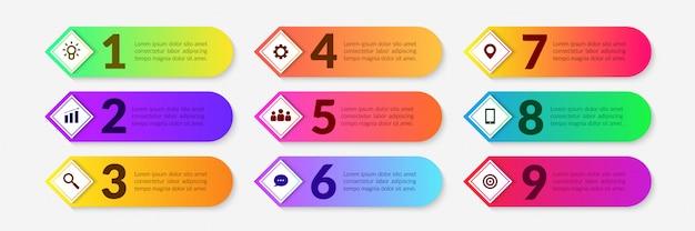 Infographic elemente des bunten arbeitsflusses, geschäftsprozess mit mehrstufigem segment