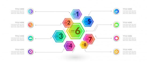 Infographic elemente des bunten arbeitsflusses, geschäftsprozessdiagramm mit mehrfachem schritt