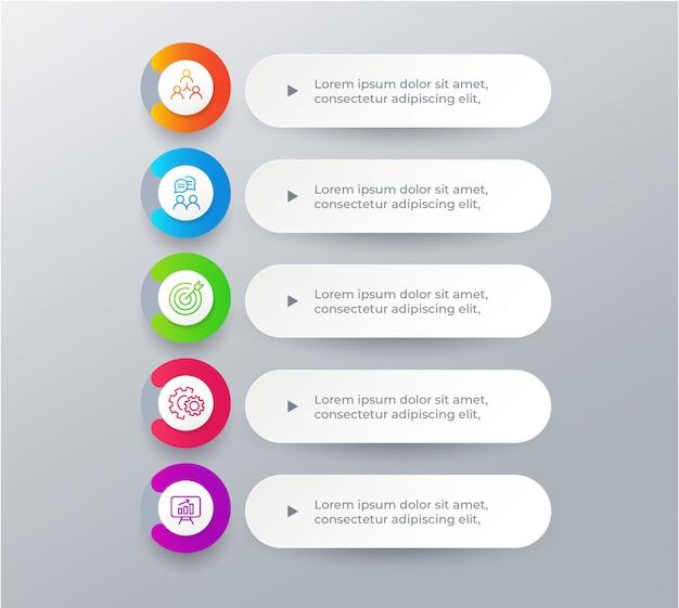 Infographic elemente des geschäfts mit 5 schritten