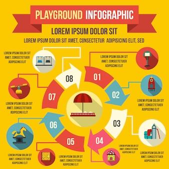 Infographic elemente des spielplatzes in der flachen art für jedes mögliches design