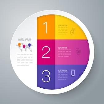 Infographic elemente mit 3 schritten geschäft für die darstellung