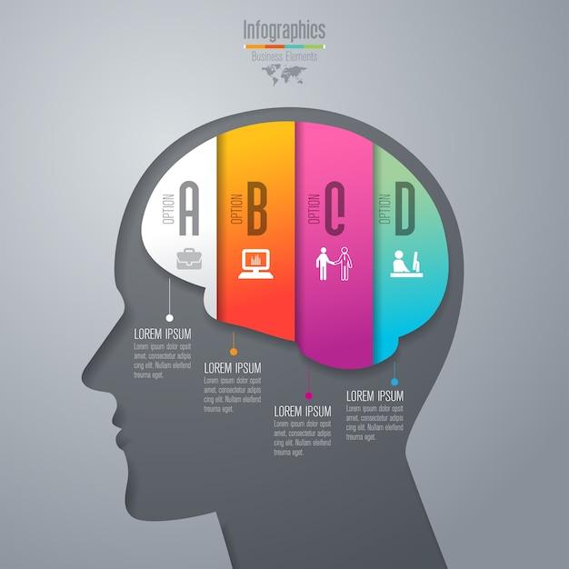 Infographic elemente mit 4 arbeitsschritten für die darstellung.