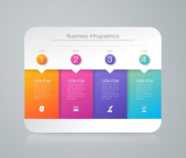 Infographic elemente mit 4 arbeitsschritten für die darstellung