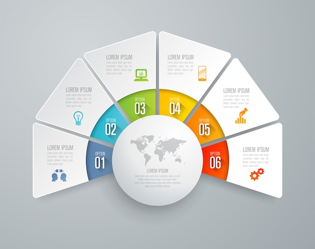 Infographic elemente mit 6 arbeitsschritten für die darstellung