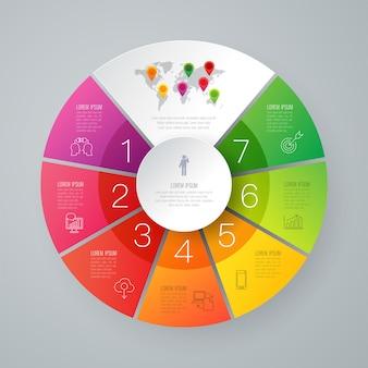 Infographic elemente mit 7 arbeitsschritten für die darstellung