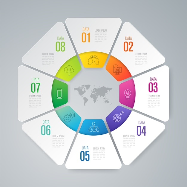 Infographic elemente mit 8 arbeitsschritten für die darstellung
