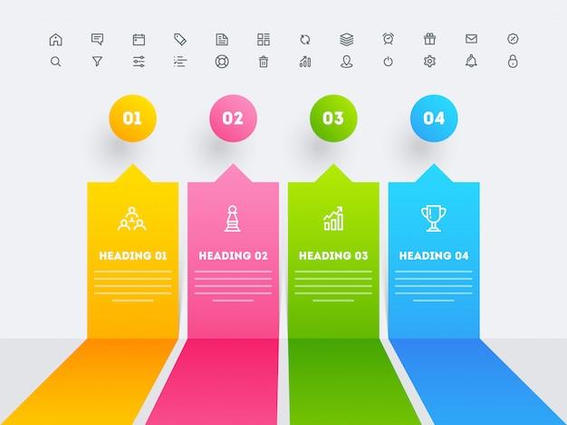 Infographic elemente mit vier verschiedenen schlagzeilenschritten für geschäfts- oder unternehmenssektor.