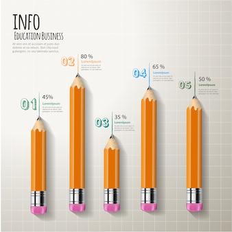 Infographic elemententwurf des diagramm-bleistiftes kreatives.