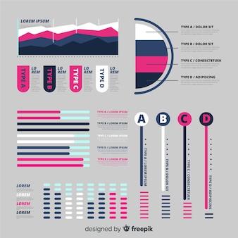 Infographic elementsammlung der flachen steigung