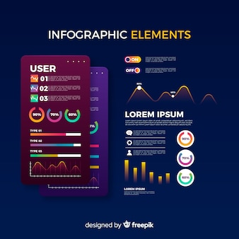 Infographic elementsammlung des farbverlaufs
