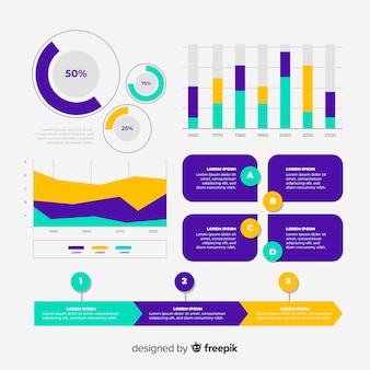 Infographic elementsammlung des flachen designs