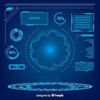 Infographic elementsammlung des futuristischen hologramms
