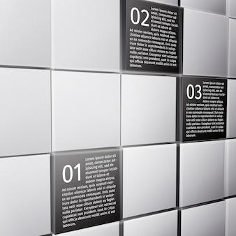 Infographic entwurfsschablone der abstrakten wand der würfel 3d für darstellungsberichts-vektorillustration