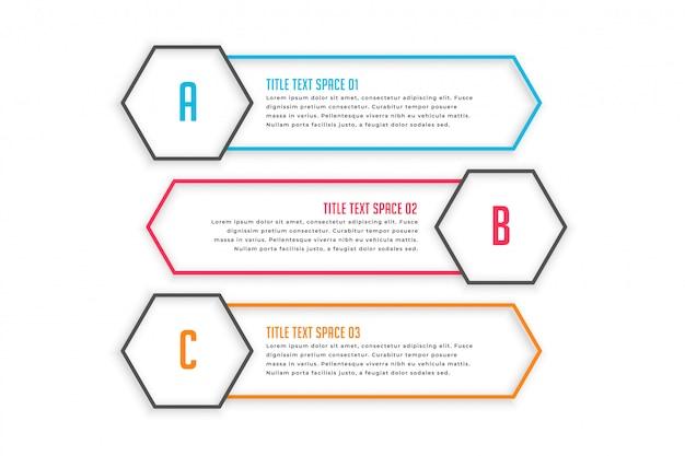 Infographic fahnen mit drei linienart