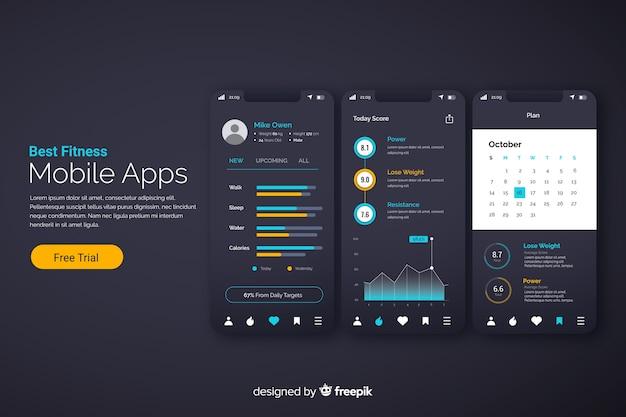 Infographic flaches design der beweglichen app der eignung