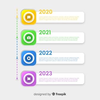 Infographic flaches design der bunten zeitachse