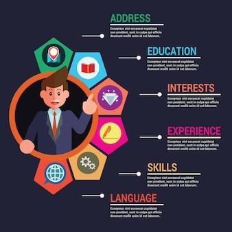Infographic-geschäftsschablonen-persönliche informationen