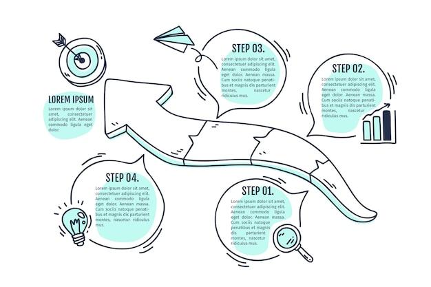 Infographic hand gezeichnetes design der zeitachse