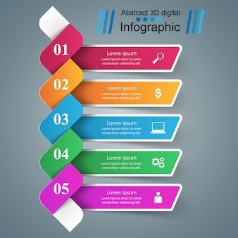 Infographic ikonen der schablone 3d und des marketings