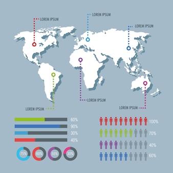 Infographic ikonen des weltplaneten