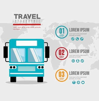 Infographic ikonenvektor-illustrationsdesign der busreise