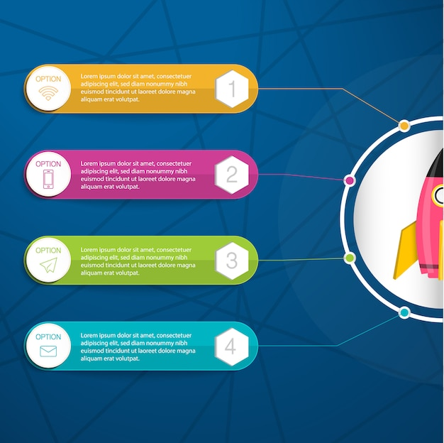 Infographic, illustration mit bunter textbox für vier eigenschaften des geschäftsprojektes oder beginnen oben