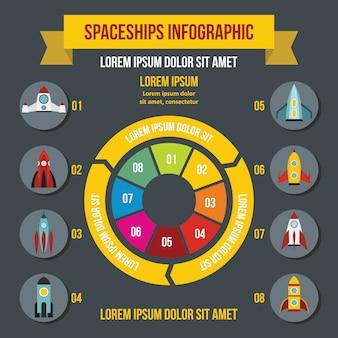 Infographic konzept der raketenraumschiffe, flache art