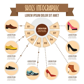 Infographic konzept der schuhe, flache art