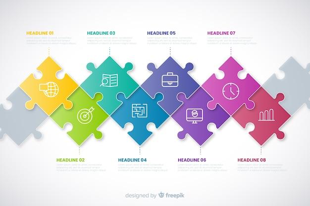 Infographic konzept der zeitachse mit puzzlespielstücken