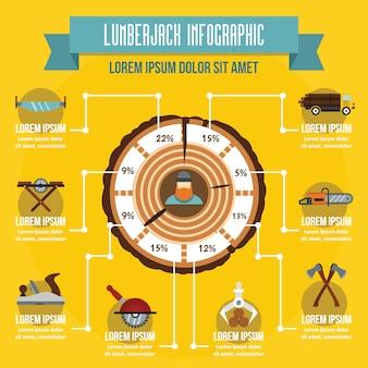 Infographic konzept des holzfällers, flache art