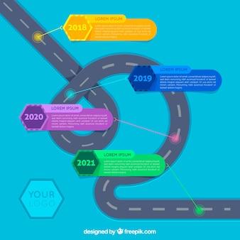 Infographic-konzept mit kurvenreicher straße