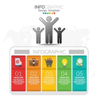 Infographic-konzeptillustration von seo-infographics mit geschäftsplanschablone.