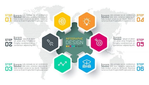 Infographic kreisstange der geschäftshexagonaufkleber formt.