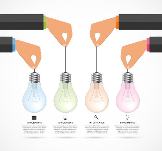 Infographic mit den menschlichen händen, die glühlampefahne halten.