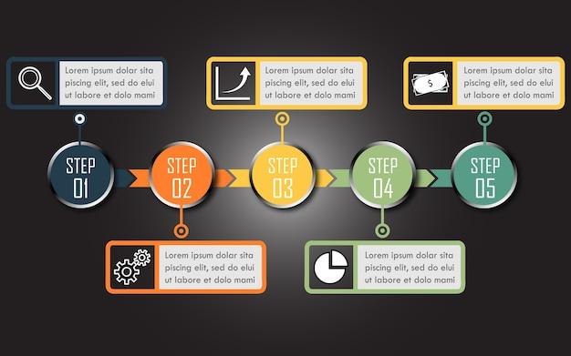 Infographic mit fünf schritten, kann für workflow, geschäft, website benutzt werden.