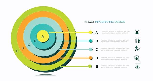 Infographic modernes zieldiagramm mit projektbeschreibungsvorratillustrationszusammenfassungsfahne