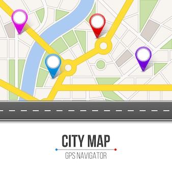 Infographic navigation der kartenstadtstraßenstraße.