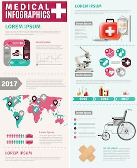 Infographic-plakat des medizinischen gesundheitswesens weltweite forschung