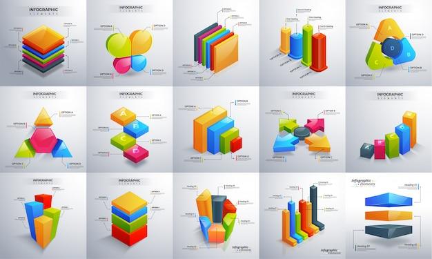 Infographic satz der bunten zeitachse 3d Premium Vektoren