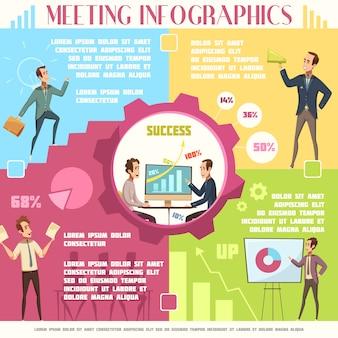 Infographic satz des geschäftstreffens mit arbeits- und erfolgssymbolkarikatur vector illustration