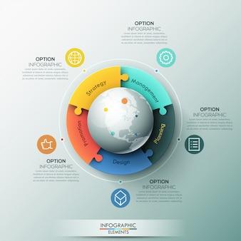 Infographic-schablone, 5 verbundene puzzlestücke gelegen um kugel