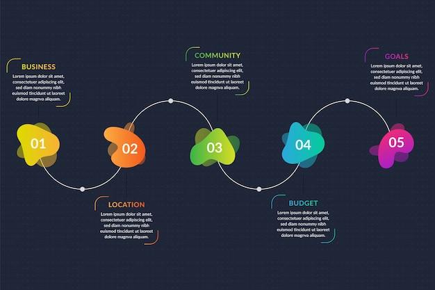 Infographic schablone der abstrakten form der steigung