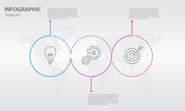Infographic schablone der abstrakten linie zeitachse