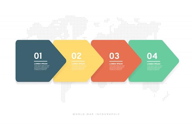 Infographic schablone der abstrakten pfeile.