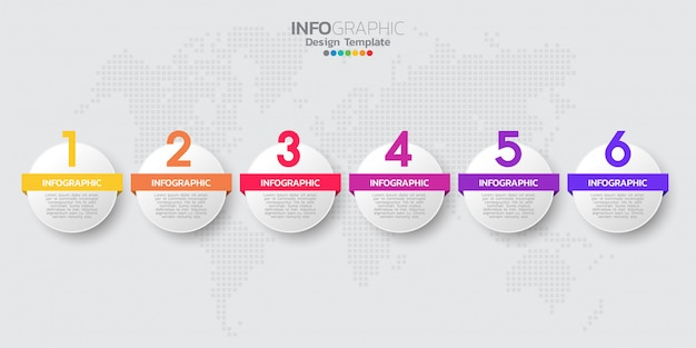 Infographic schablone der bunten modernen zeitachse mit sechs schritten