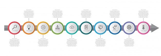 Infographic schablone der bunten zeitachse mit pfeil